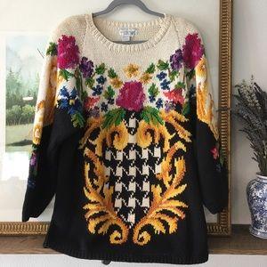 VTG Sweater Jennifer Reed Floral Cottage Core